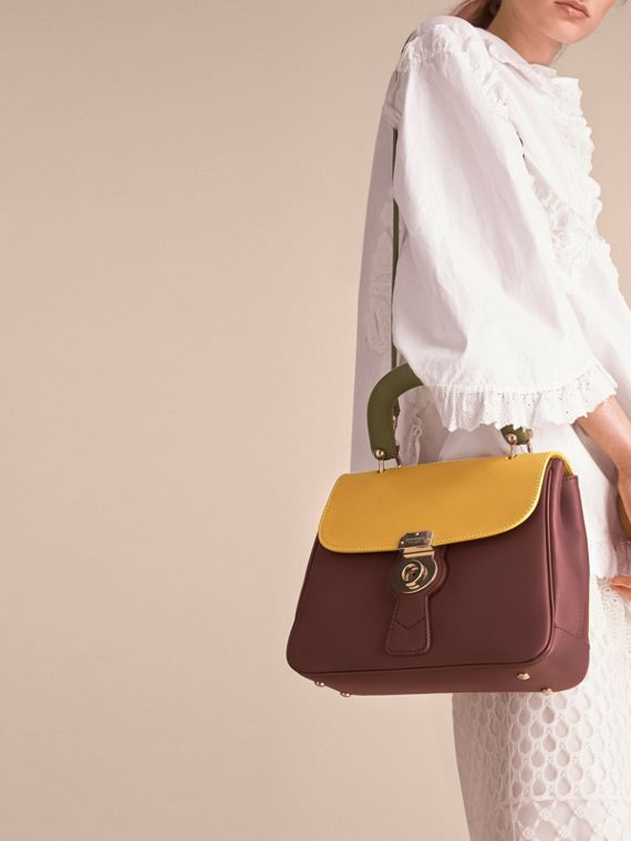 The Medium DK88 Top Handle Bag Dark Chocolate/ochre Yellow - cell image 3