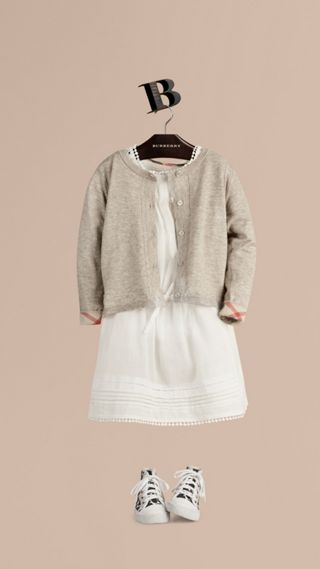 Check Cuff Cotton Knit Cardigan