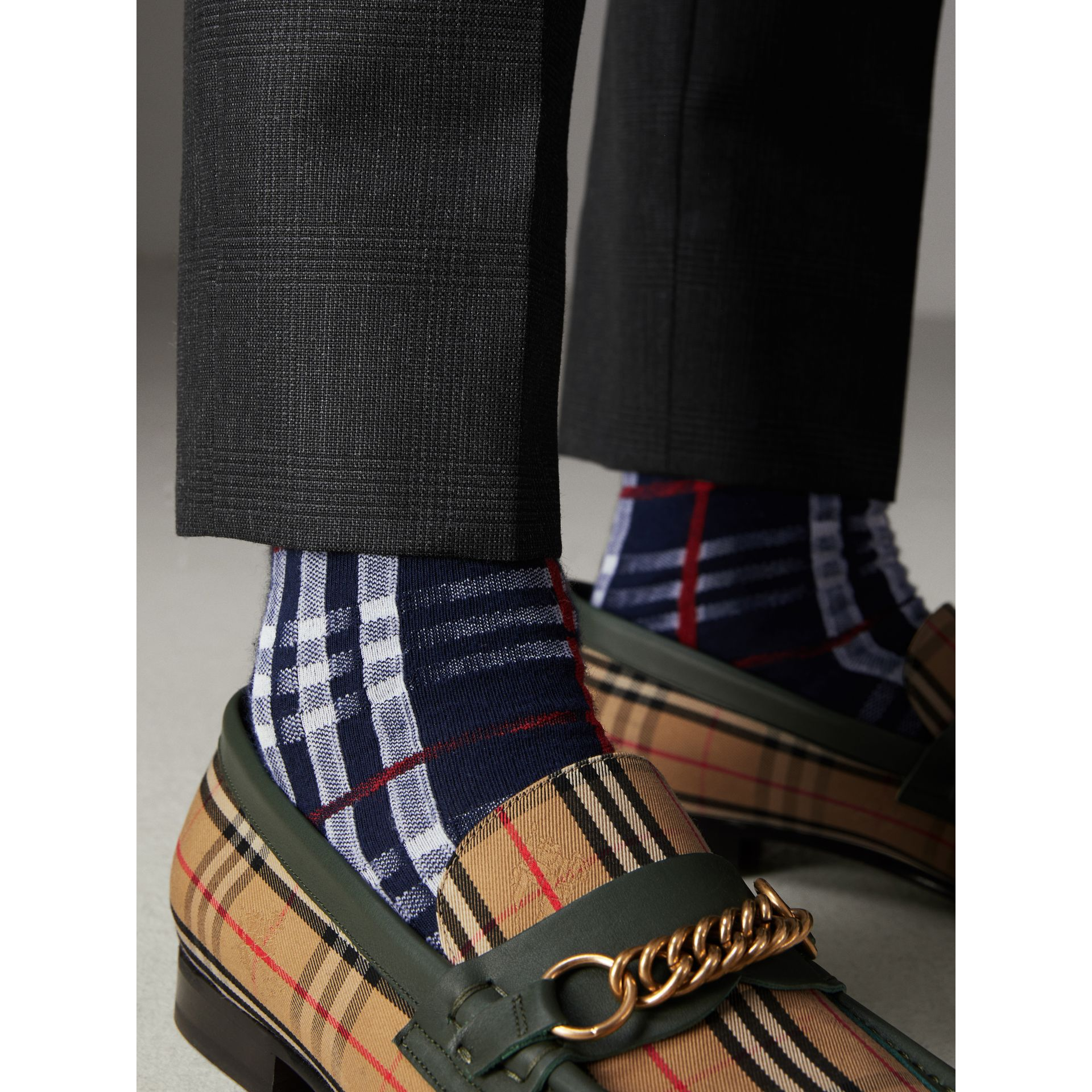 Vintage Check Cotton Blend Socks in Navy | Burberry Canada - gallery image 3