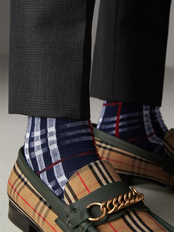Vintage Check Cotton Blend Socks in Navy | Burberry - cell image 3
