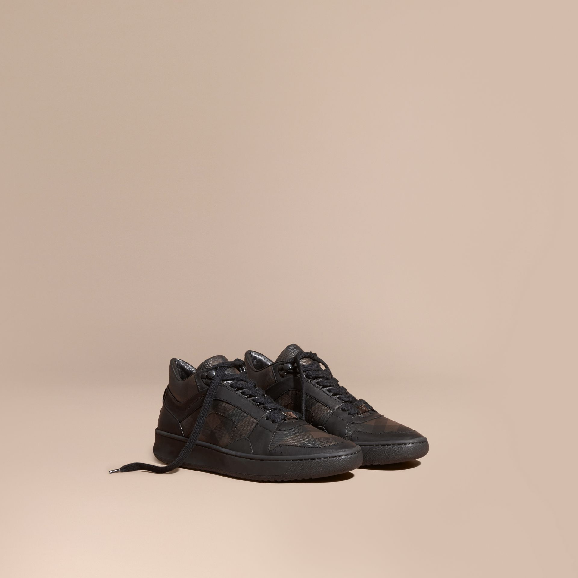 Smoked chocolate check London Check and Leather Trainers Smoked Chocolate - gallery image 1