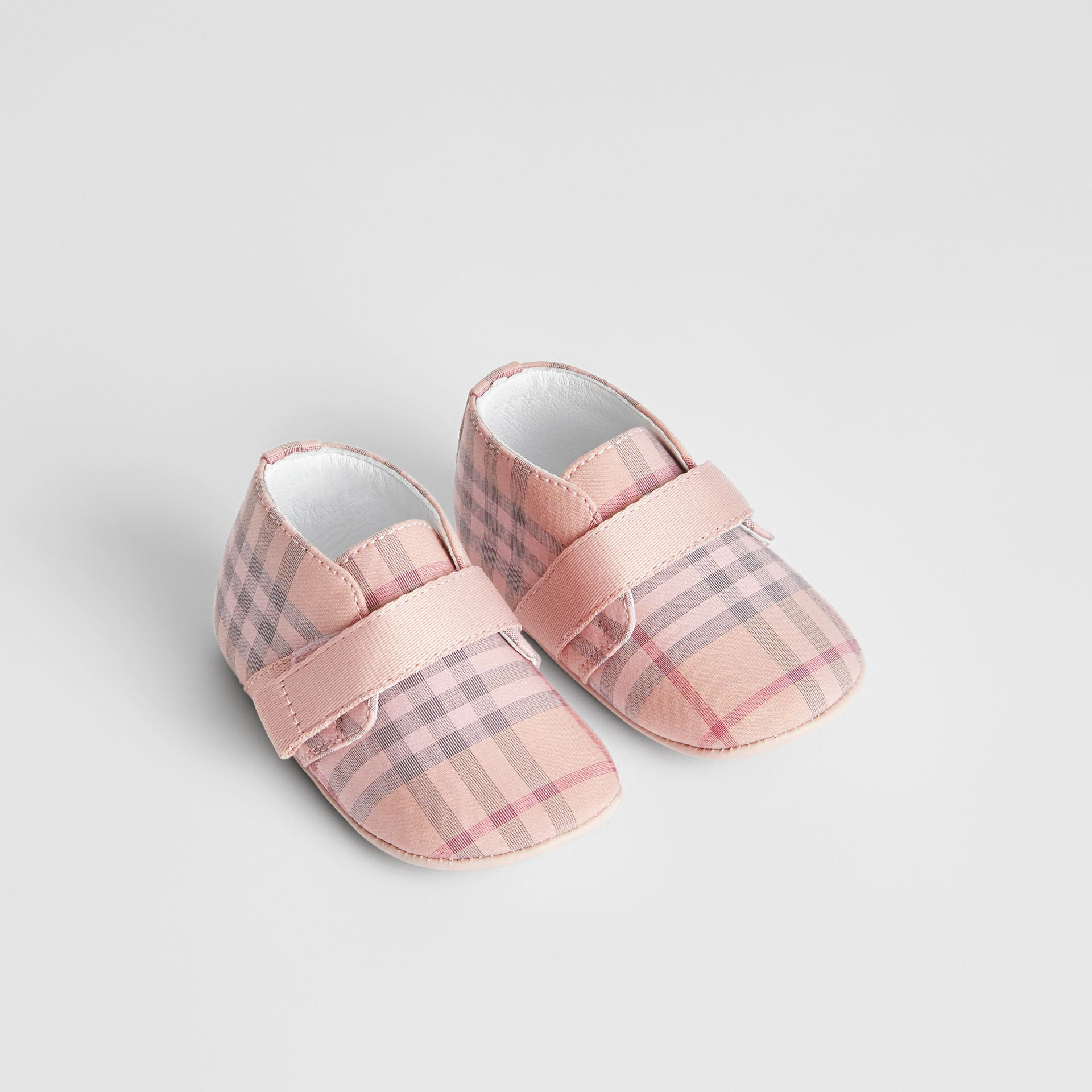 Check Cotton and Leather Shoes in Light Rose - Children | Burberry - gallery image 0