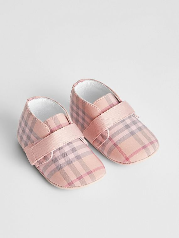 Check Cotton and Leather Shoes in Light Rose
