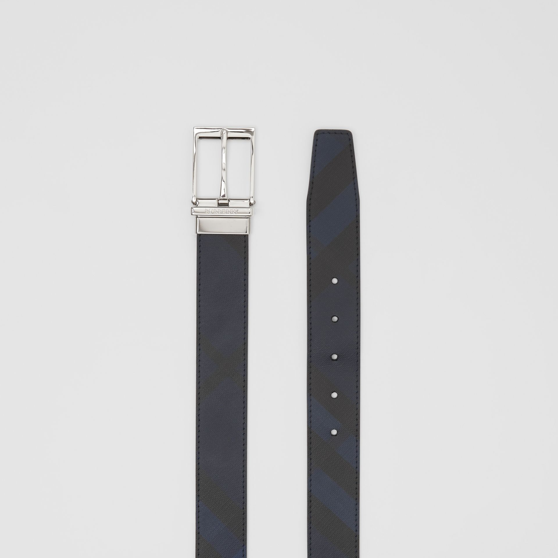 Reversible London Check and Leather Belt in Navy/black - Men | Burberry United Kingdom - gallery image 8