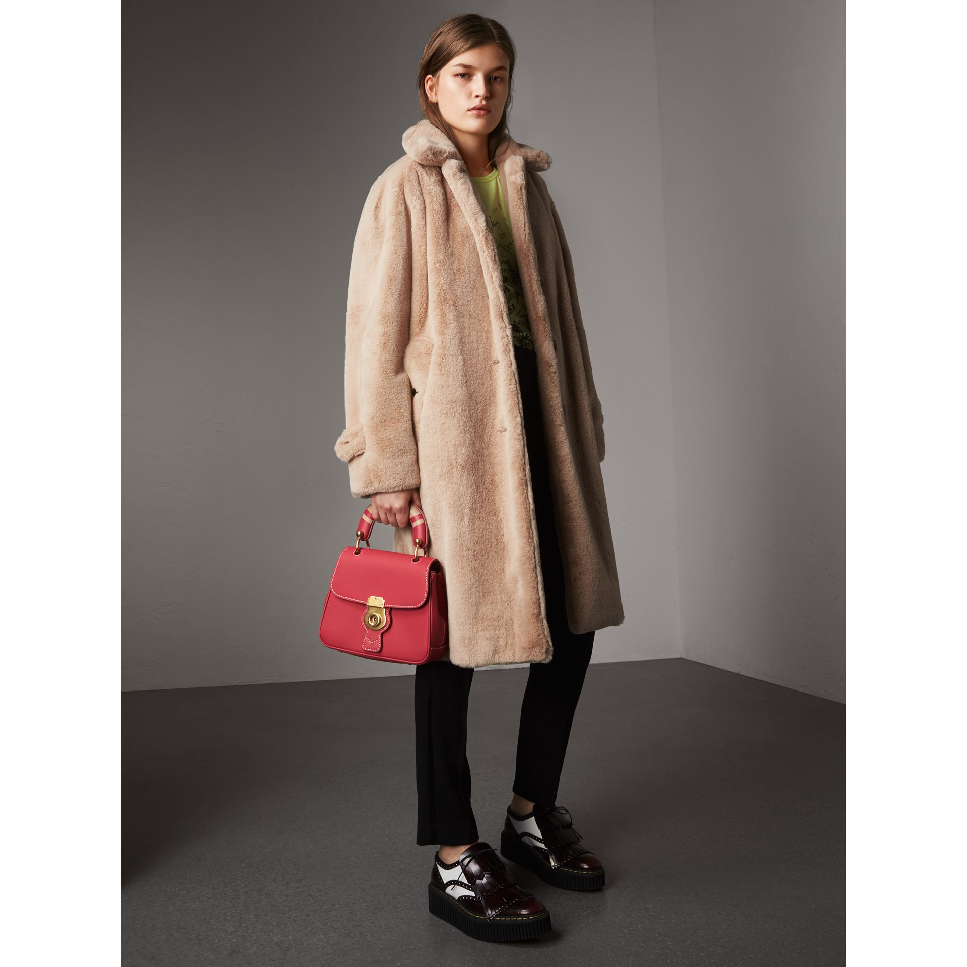 Faux Fur Single-breasted Car Coat in Nude - Women | Burberry - gallery image 6
