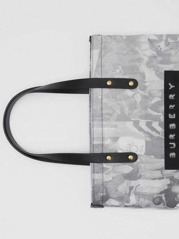 Rave Print Nylon Tote Bag in Black | Burberry - cell image 1
