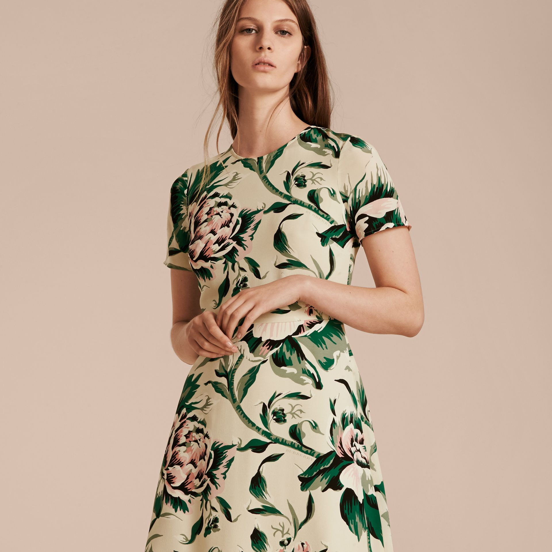 Emerald green Peony Rose Print Silk A-line Dress - gallery image 6