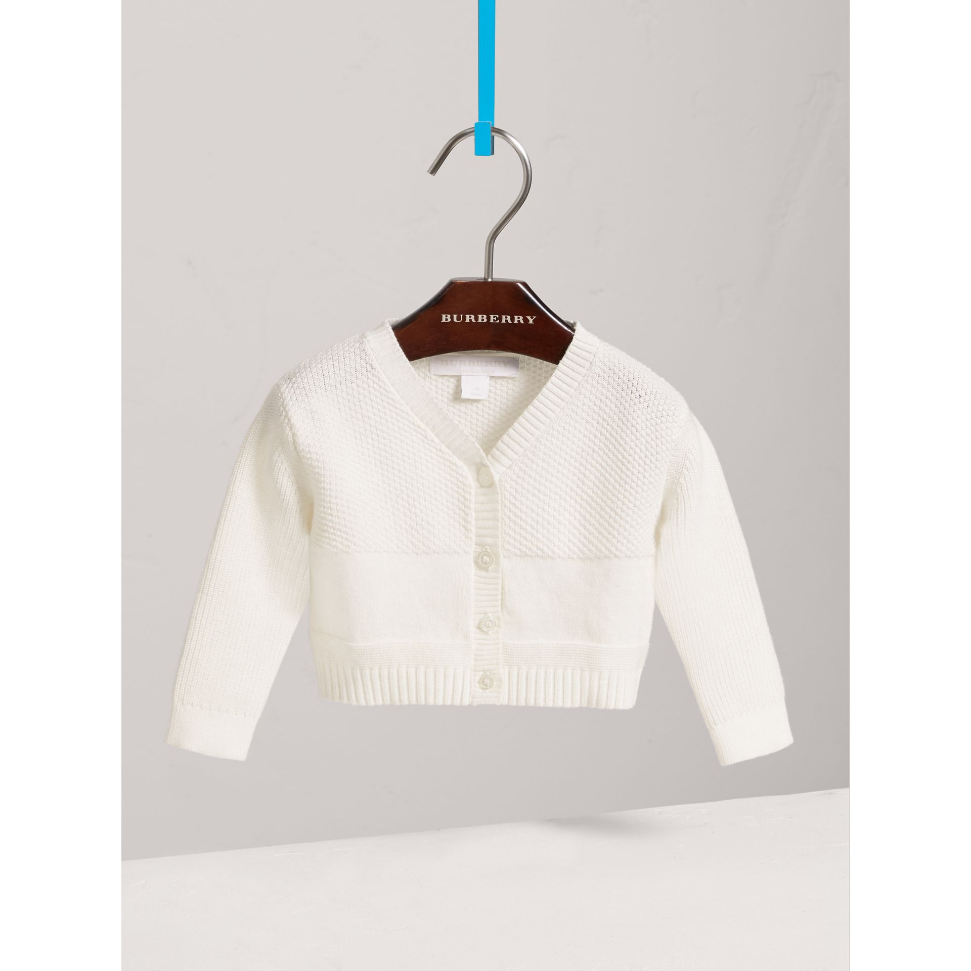 Multi-stitch Cotton Cardigan in White | Burberry - gallery image 0