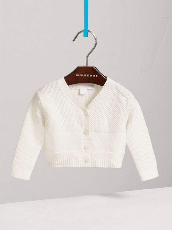 Multi-stitch Cotton Cardigan in White