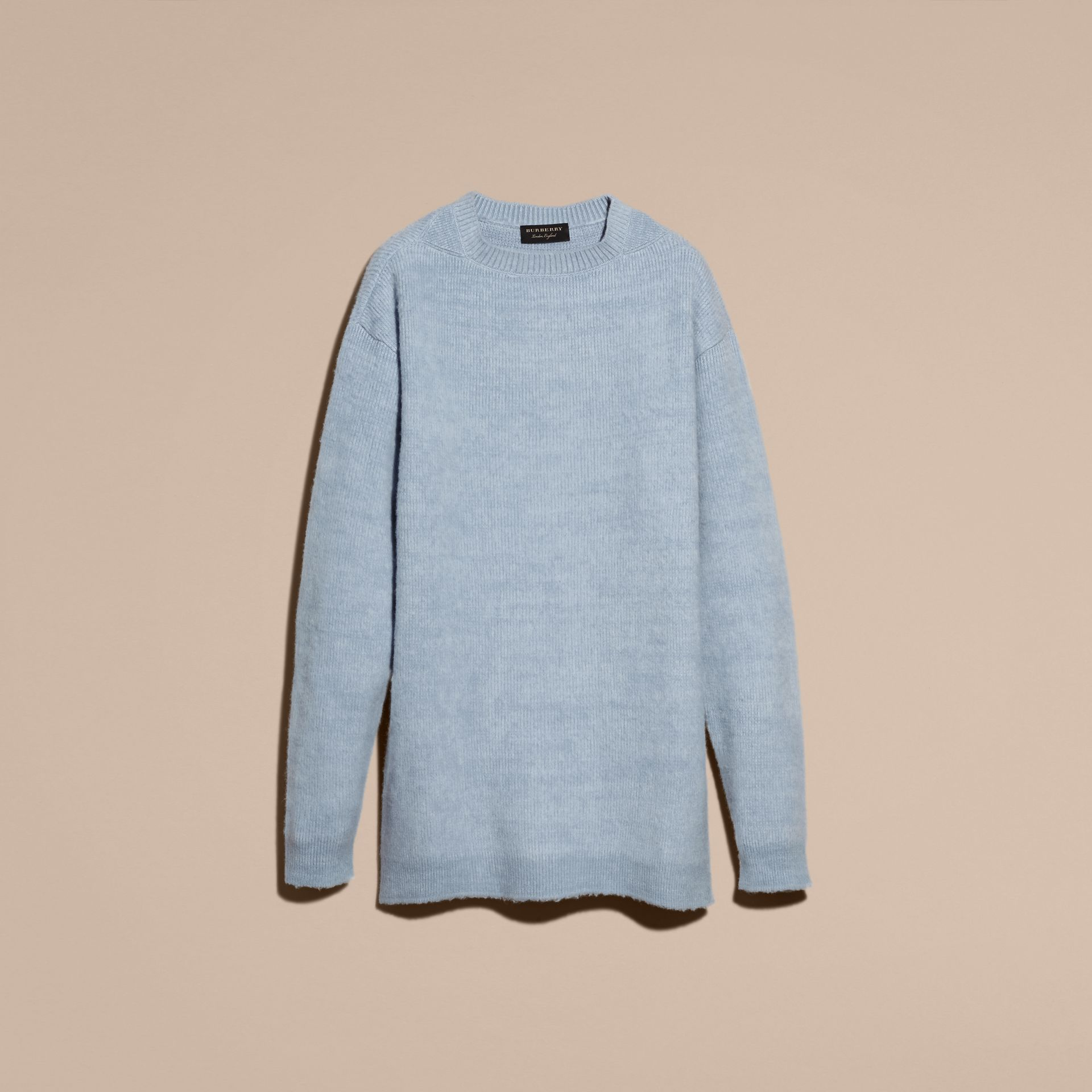 Hydrangea blue Brushed Wool Cashmere Sweater - gallery image 4
