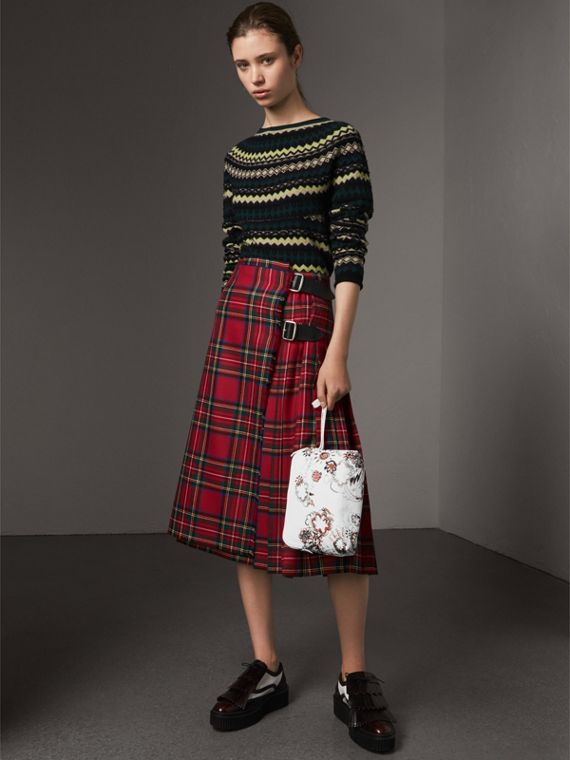 Large Zip-top Doodle Print Coated Canvas Pouch in White/black - Women | Burberry Australia - cell image 2