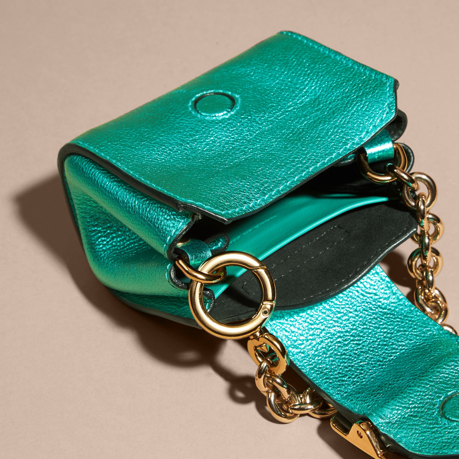 Emerald The Mini Buckle Tote Charm in Metallic Leather Emerald - gallery image 5