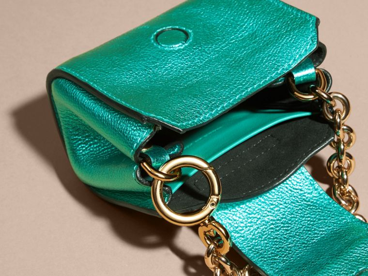 Emerald The Mini Buckle Tote Charm in Metallic Leather Emerald - cell image 4