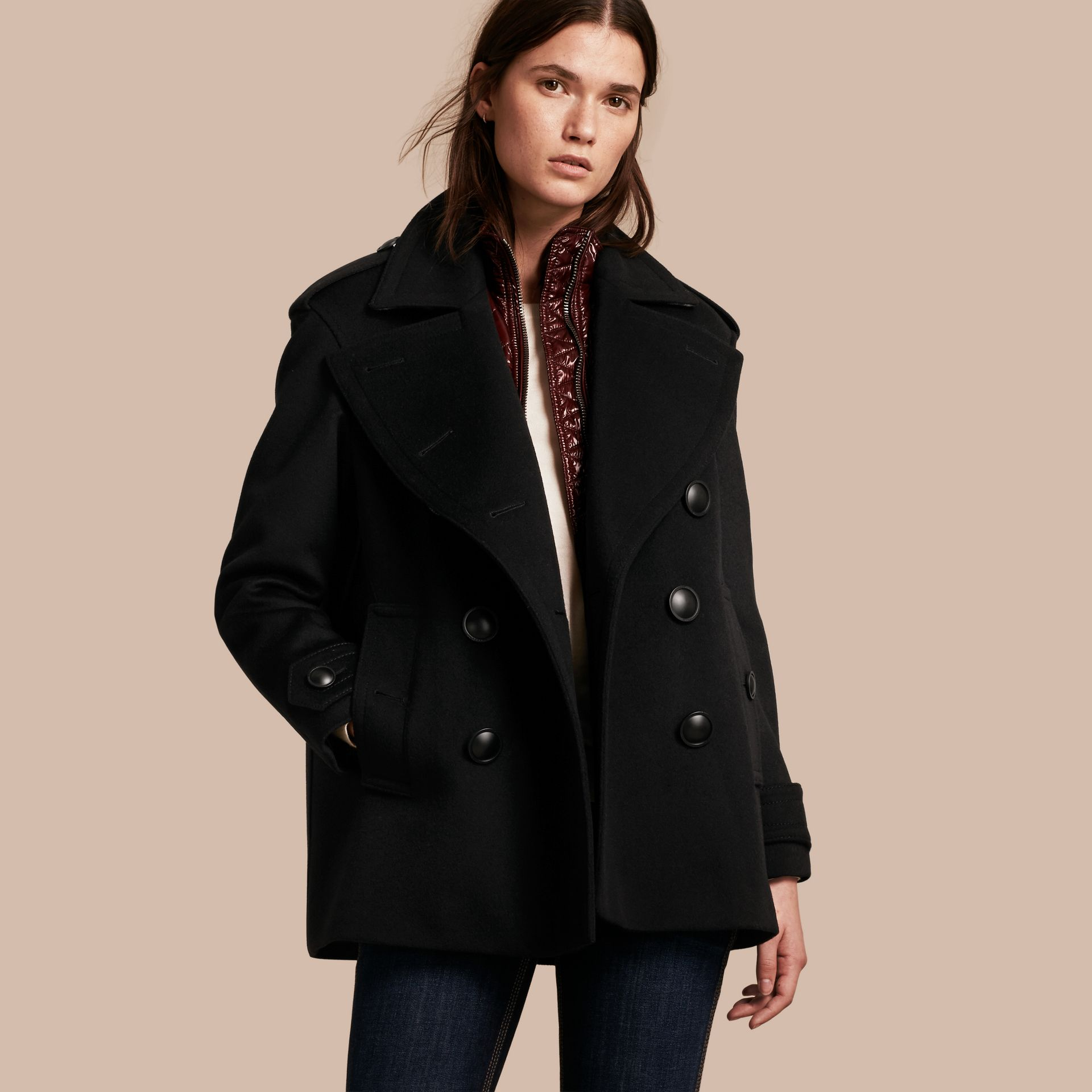 Black Wool Cashmere Pea Coat with Detachable Warmer - gallery image 1