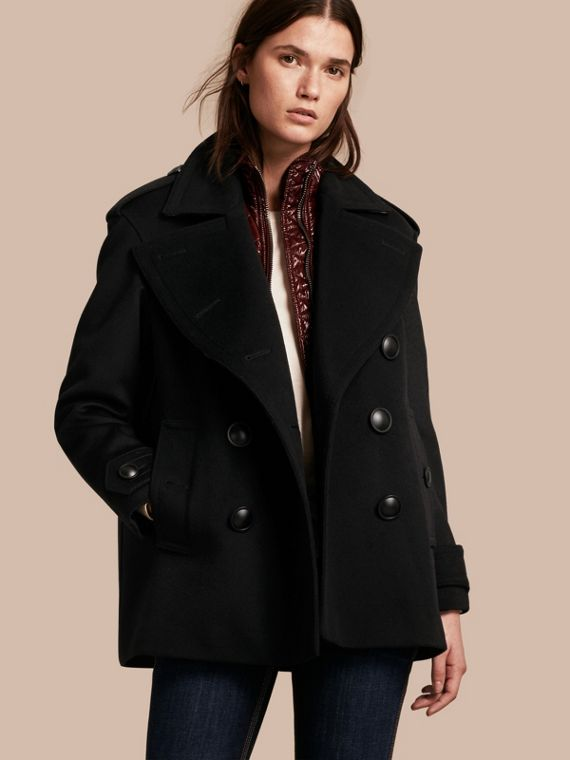 Wool Cashmere Pea Coat with Detachable Warmer