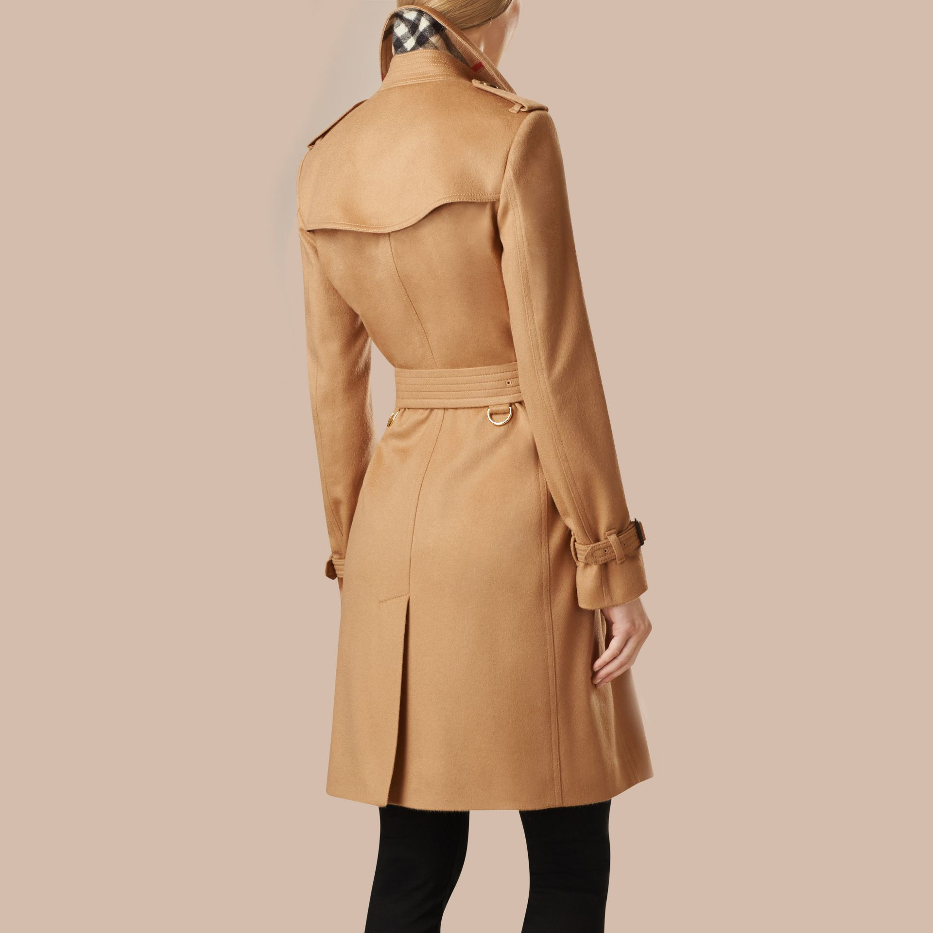 Camel Kensington Fit Cashmere Trench Coat Camel - gallery image 3