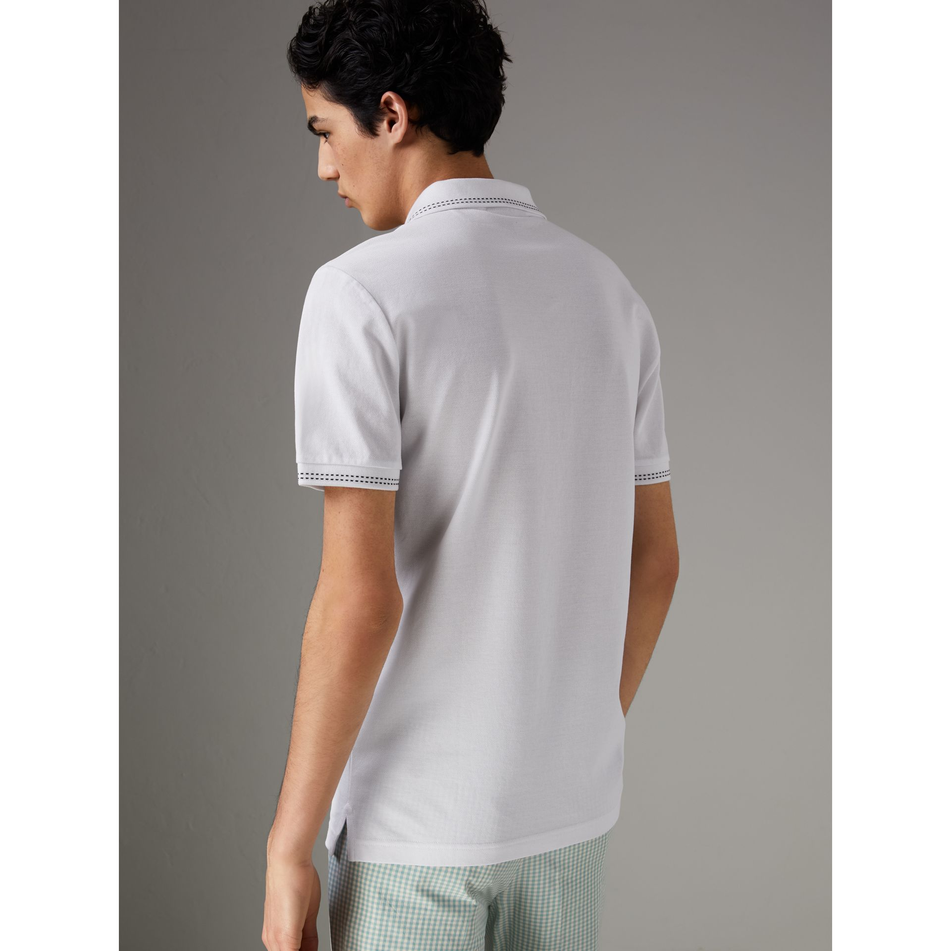 Cotton Piqué Polo Shirt in White - Men | Burberry - gallery image 2