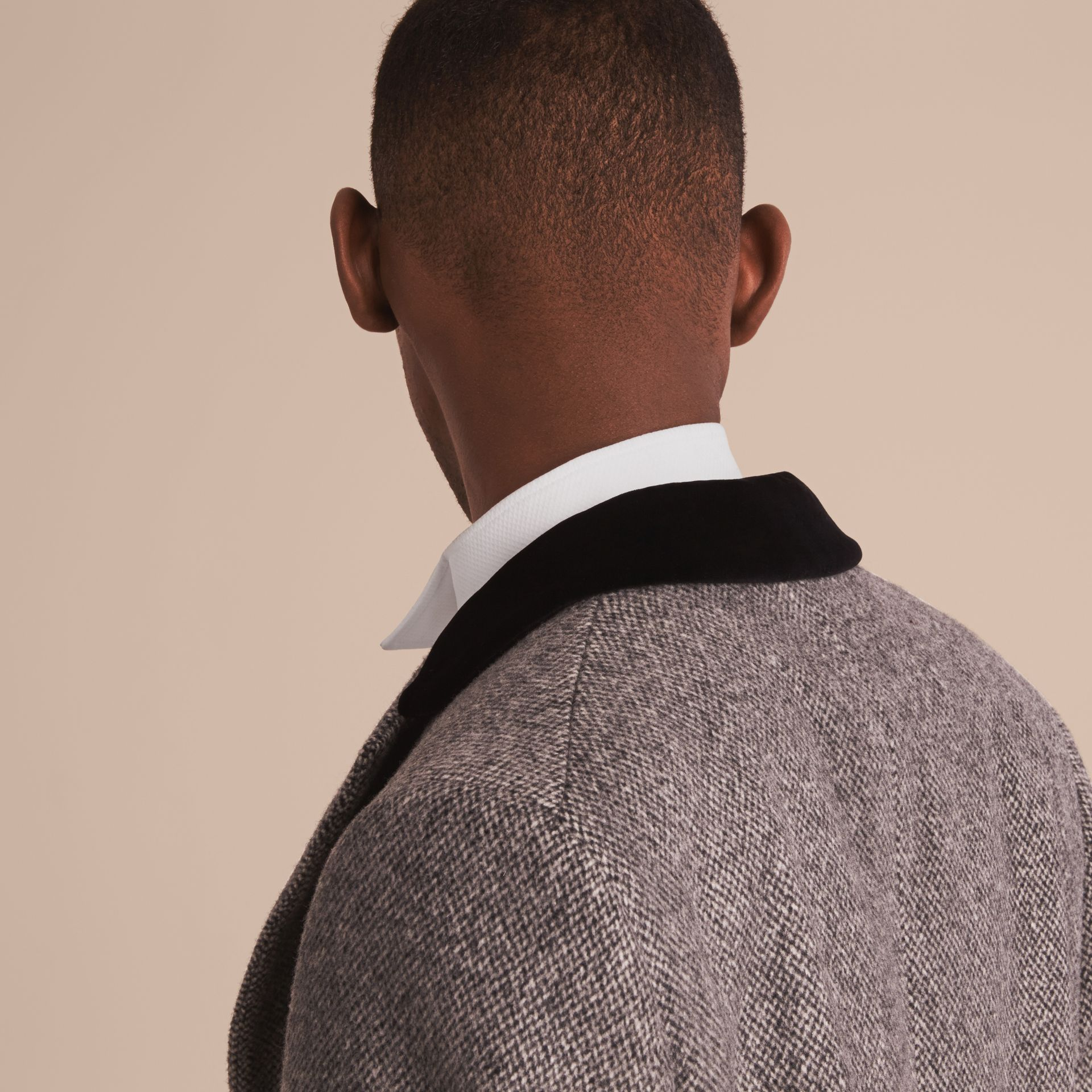 Velvet Collar Wool Tweed Topcoat - Men | Burberry Singapore - gallery image 7