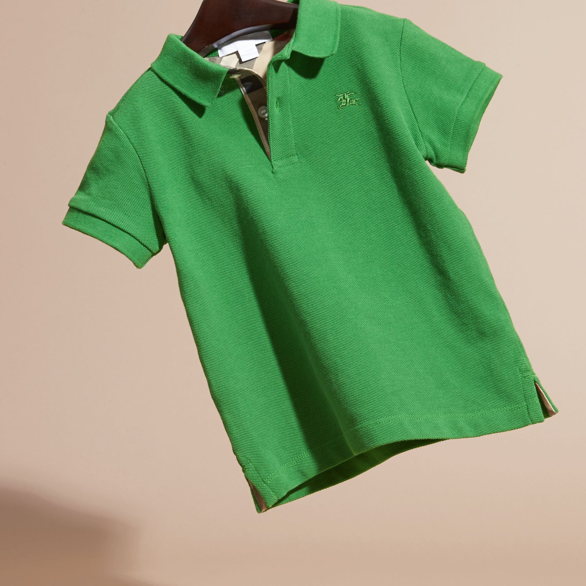 Bright fern green Check Placket Polo Shirt Bright Fern Green - gallery image 3