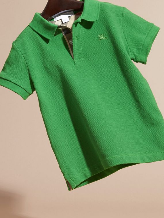Bright fern green Check Placket Polo Shirt Bright Fern Green - cell image 2