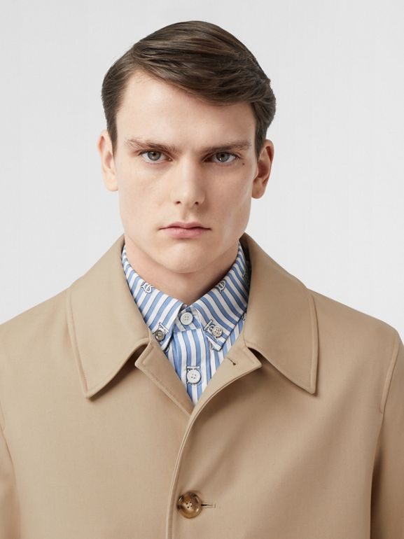 Stripe Detail Cotton Gabardine Car Coat in Soft Fawn   Burberry United Kingdom - cell image 1