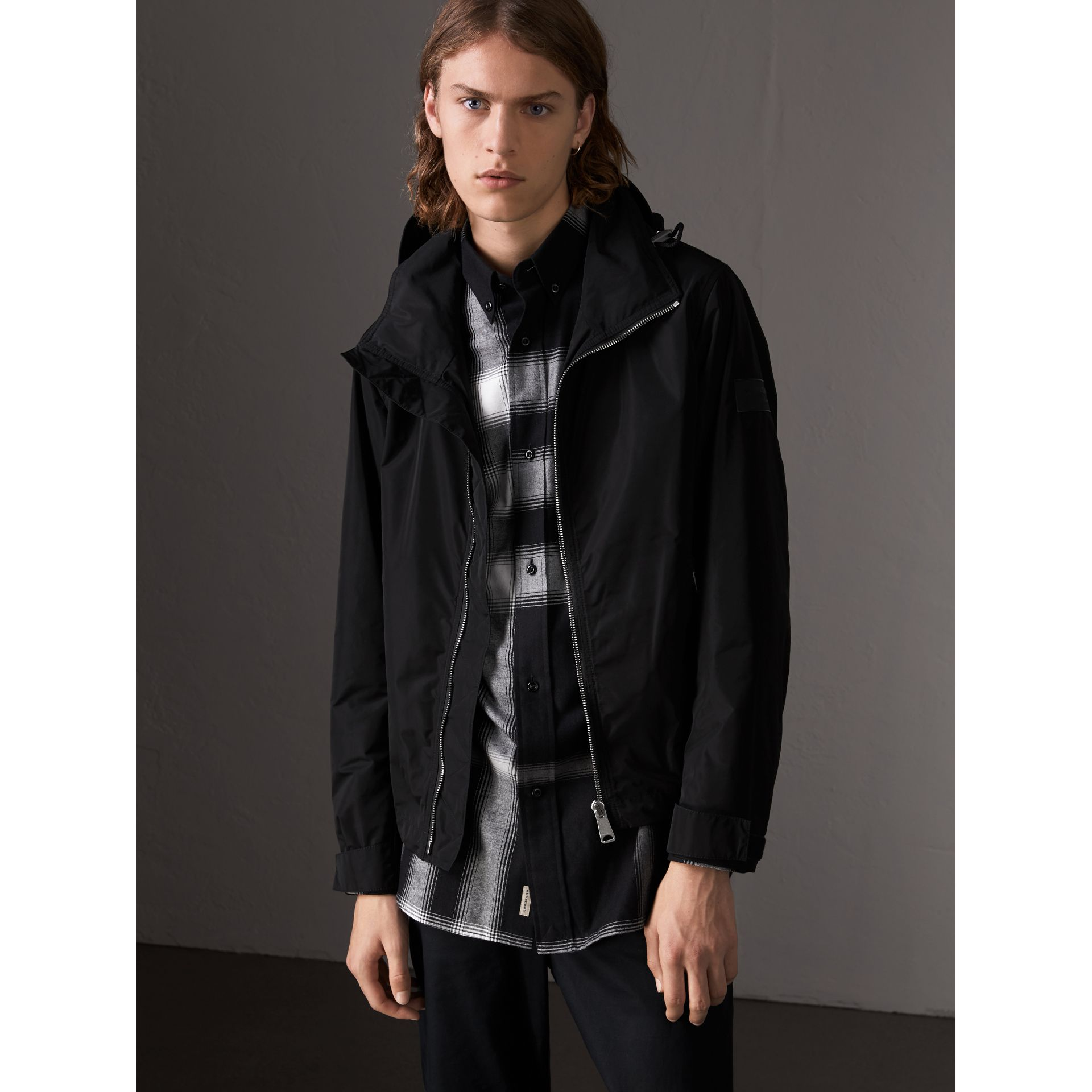 Packaway Hood Showerproof Jacket in Black - Men | Burberry - gallery image 1