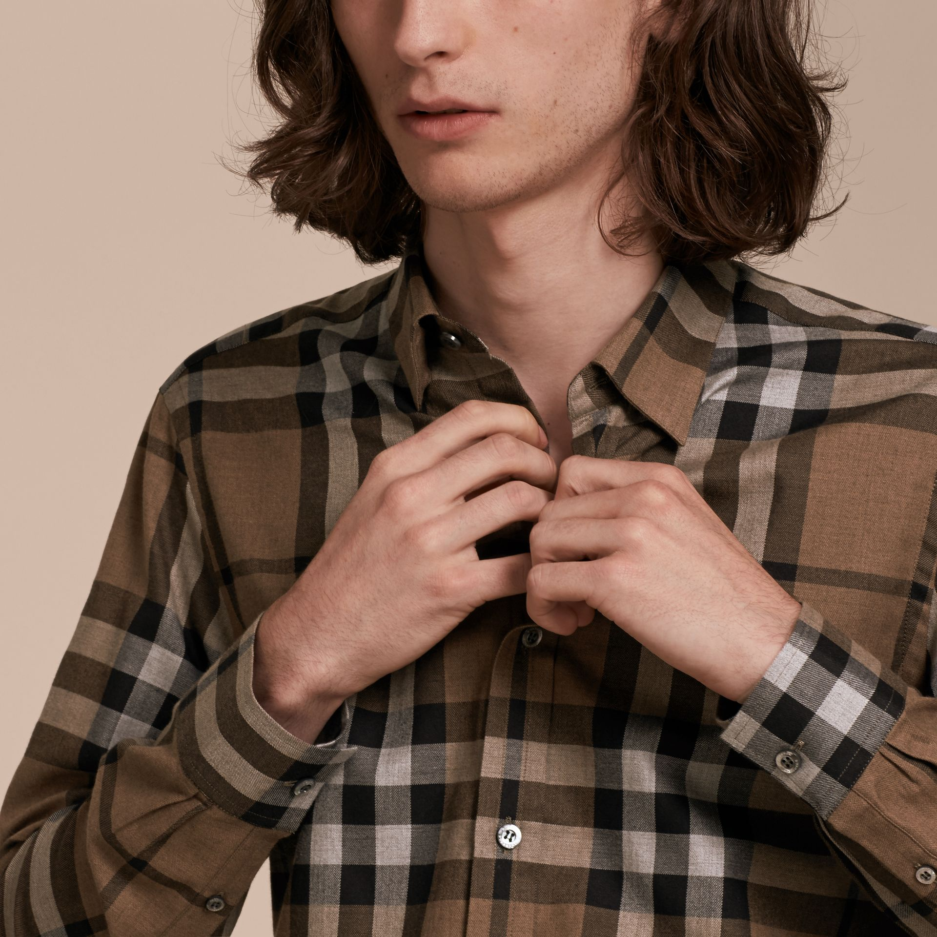 Walnut Check Cotton Cashmere Flannel Shirt Walnut - gallery image 5