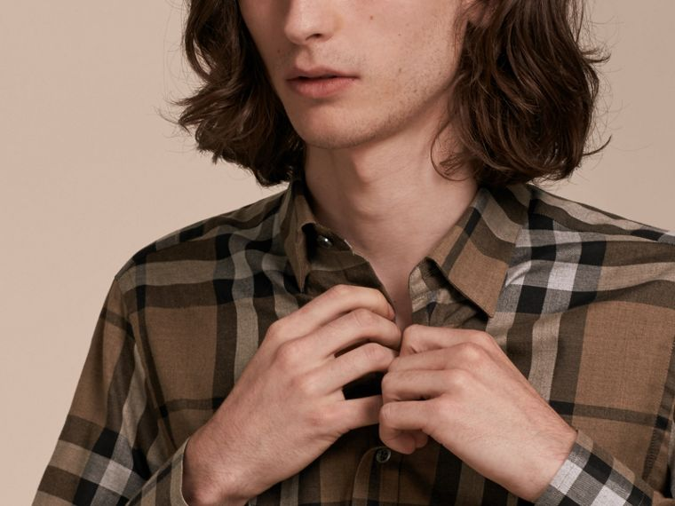 Check Cotton Cashmere Flannel Shirt Walnut - cell image 4