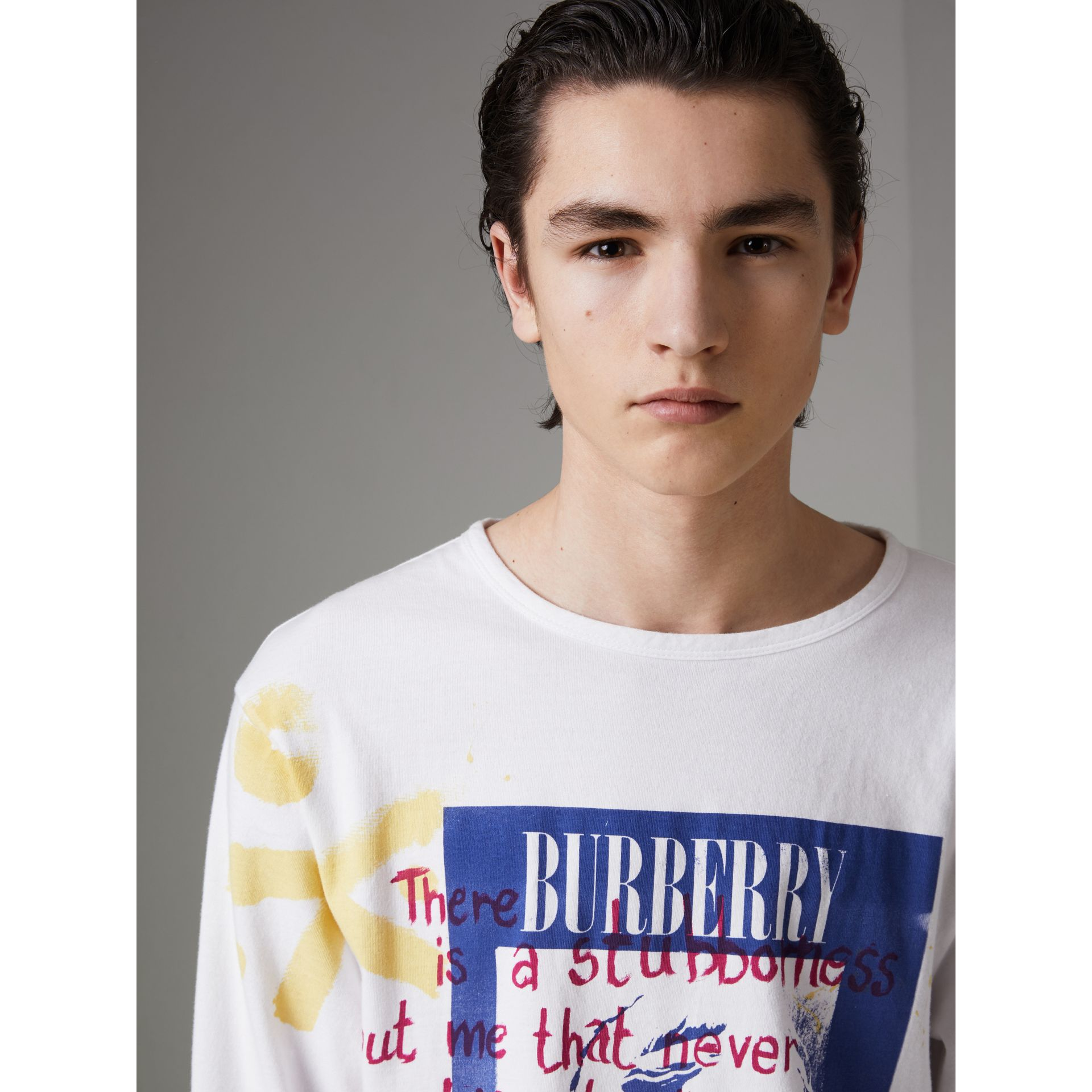 Portrait Print Cotton Top in Optic White - Men | Burberry United States - gallery image 1