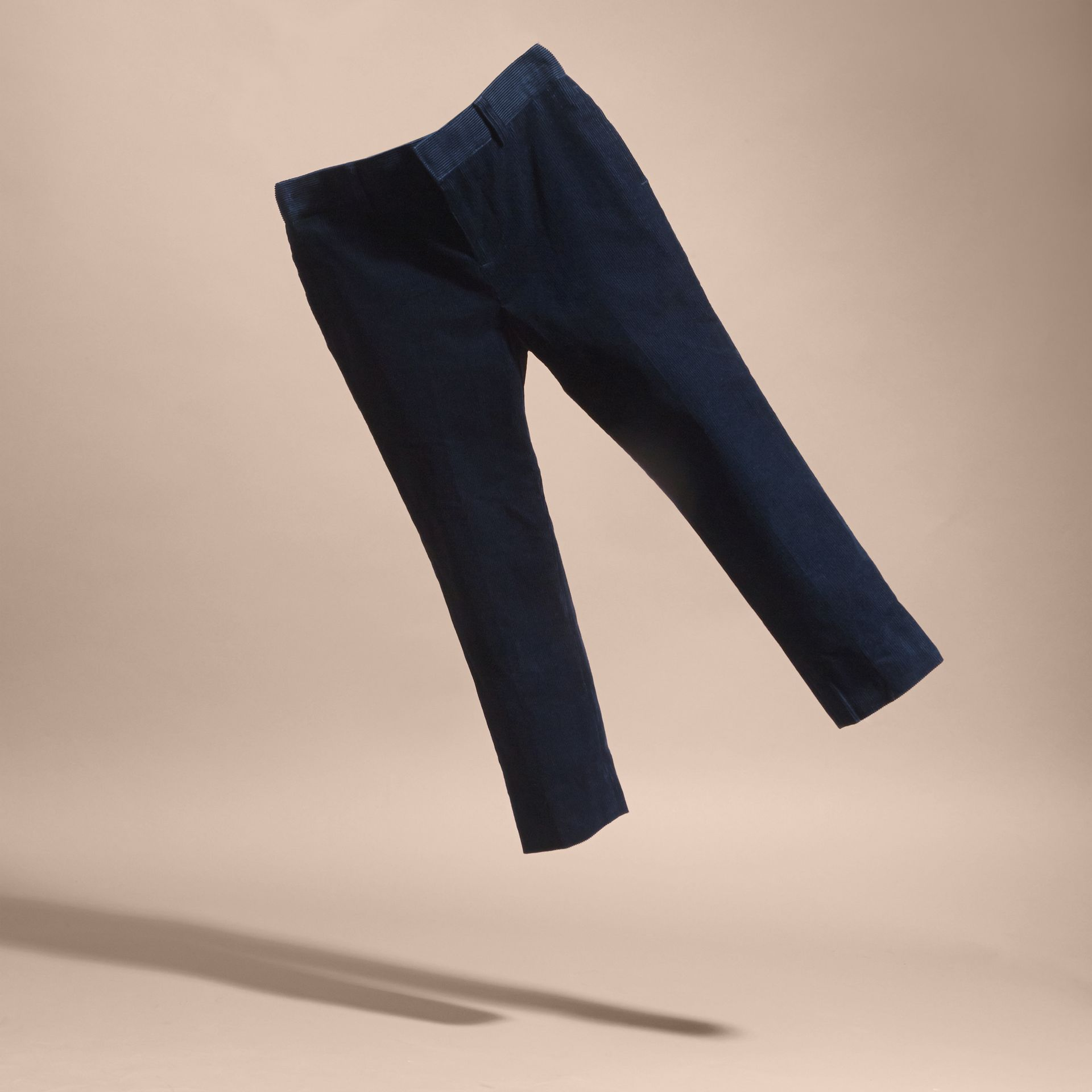 Navy Wool Cord Trousers - gallery image 3