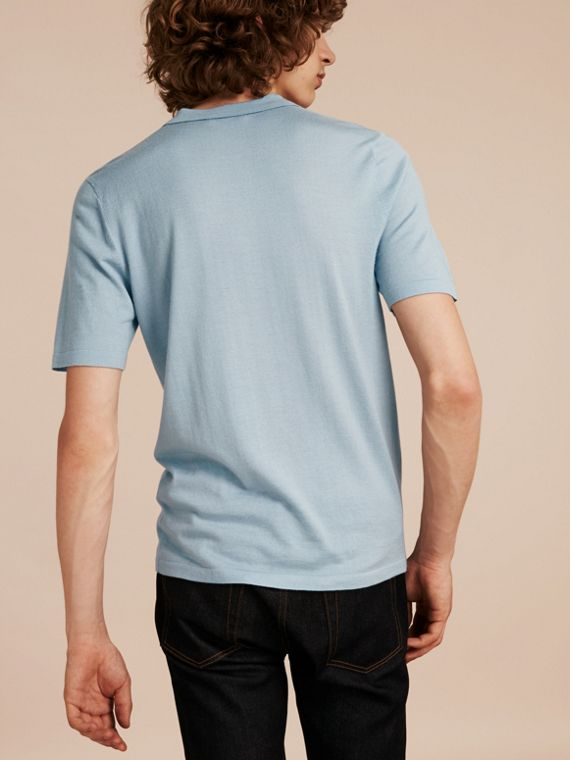 Pale sky blue Check Placket Wool and Silk Blend Polo Shirt Pale Sky Blue - cell image 2