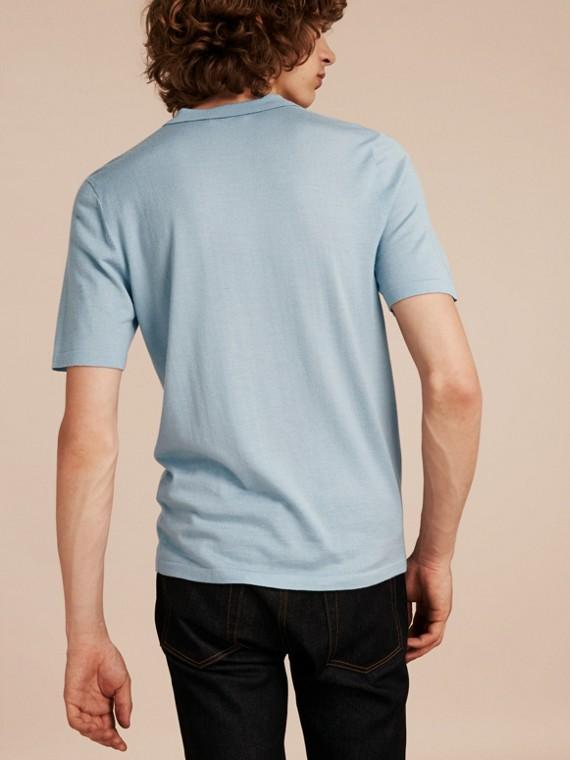 Bleu ciel pâle Polo en laine et soie mélangées avec patte à motif check Bleu Ciel Pâle - cell image 2