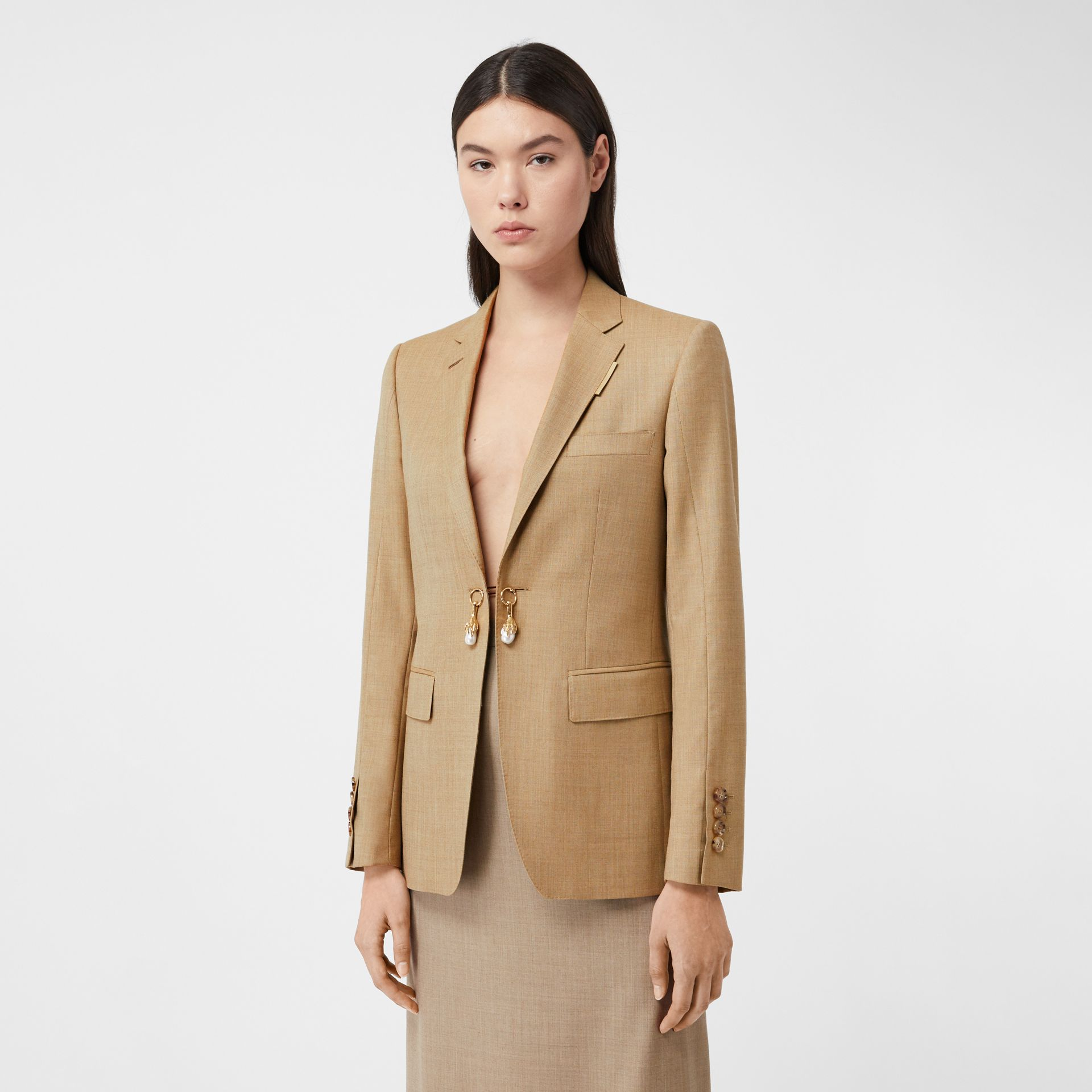 Link Detail Wool Cashmere Blazer in Pecan Melange - Women | Burberry United Kingdom - gallery image 0