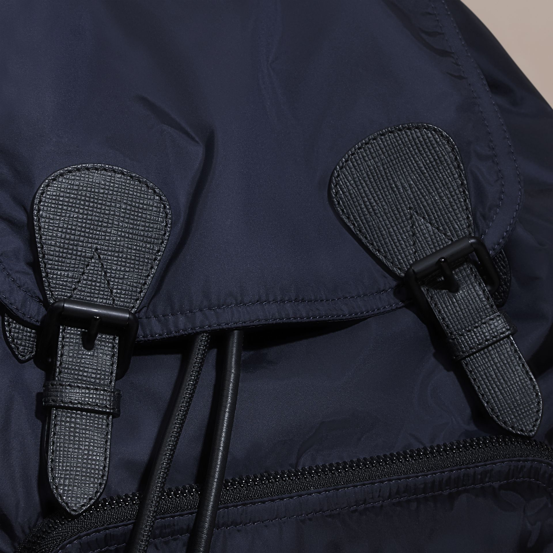 The Large Rucksack in Technical Nylon and Leather in Ink Blue | Burberry - gallery image 5