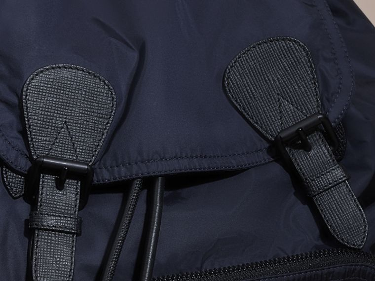 The Large Rucksack in Technical Nylon and Leather Ink Blue - cell image 4