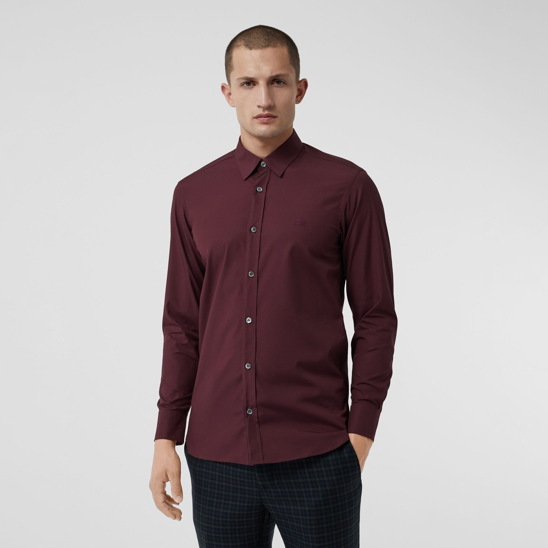 Check Cuff Stretch Cotton Poplin Shirt in Oxblood - Men | Burberry Australia - gallery image 0