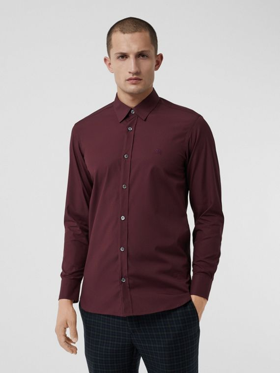 Check Cuff Stretch Cotton Poplin Shirt in Oxblood