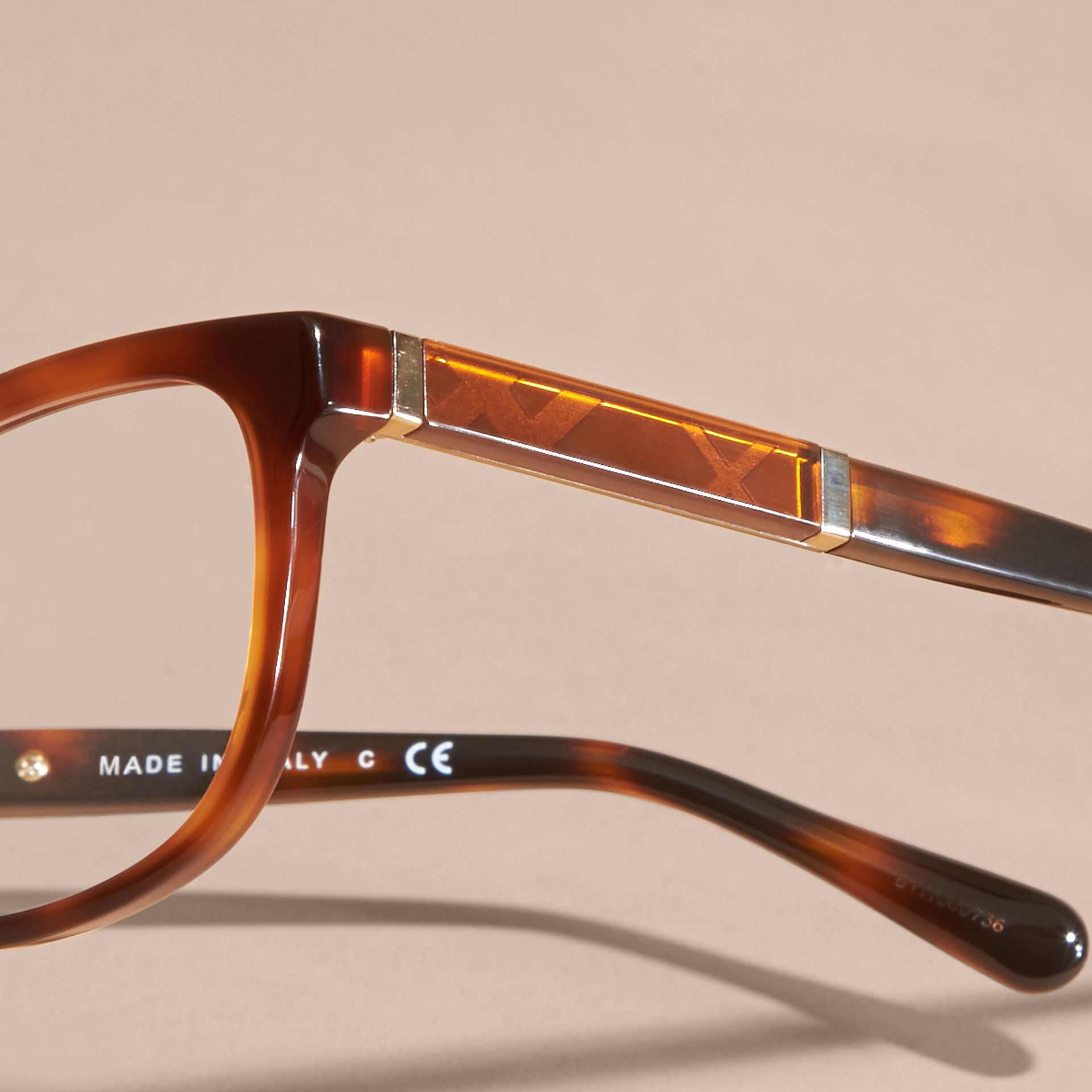 Light russet brown Check Detail Oval Optical Frames Light Russet Brown - gallery image 2