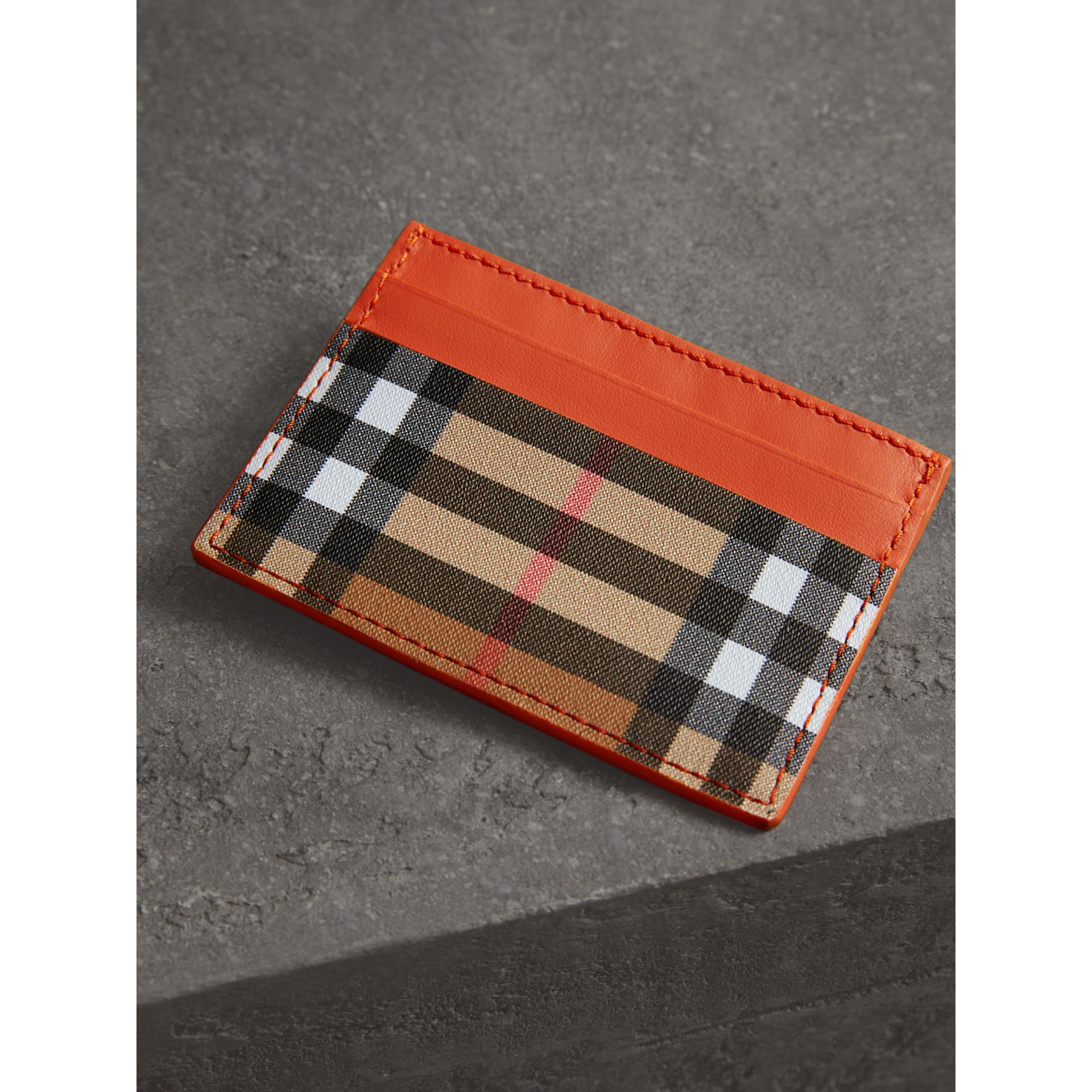 Vintage Check and Leather Card Case in Clementine - Women | Burberry - gallery image 2