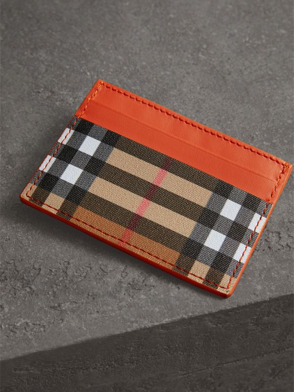 Vintage Check and Leather Card Case in Clementine - Women | Burberry - cell image 2