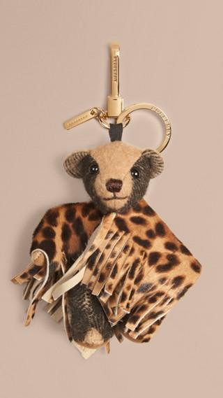 Bijou porte-clés Thomas Bear avec poncho en veau façon poulain