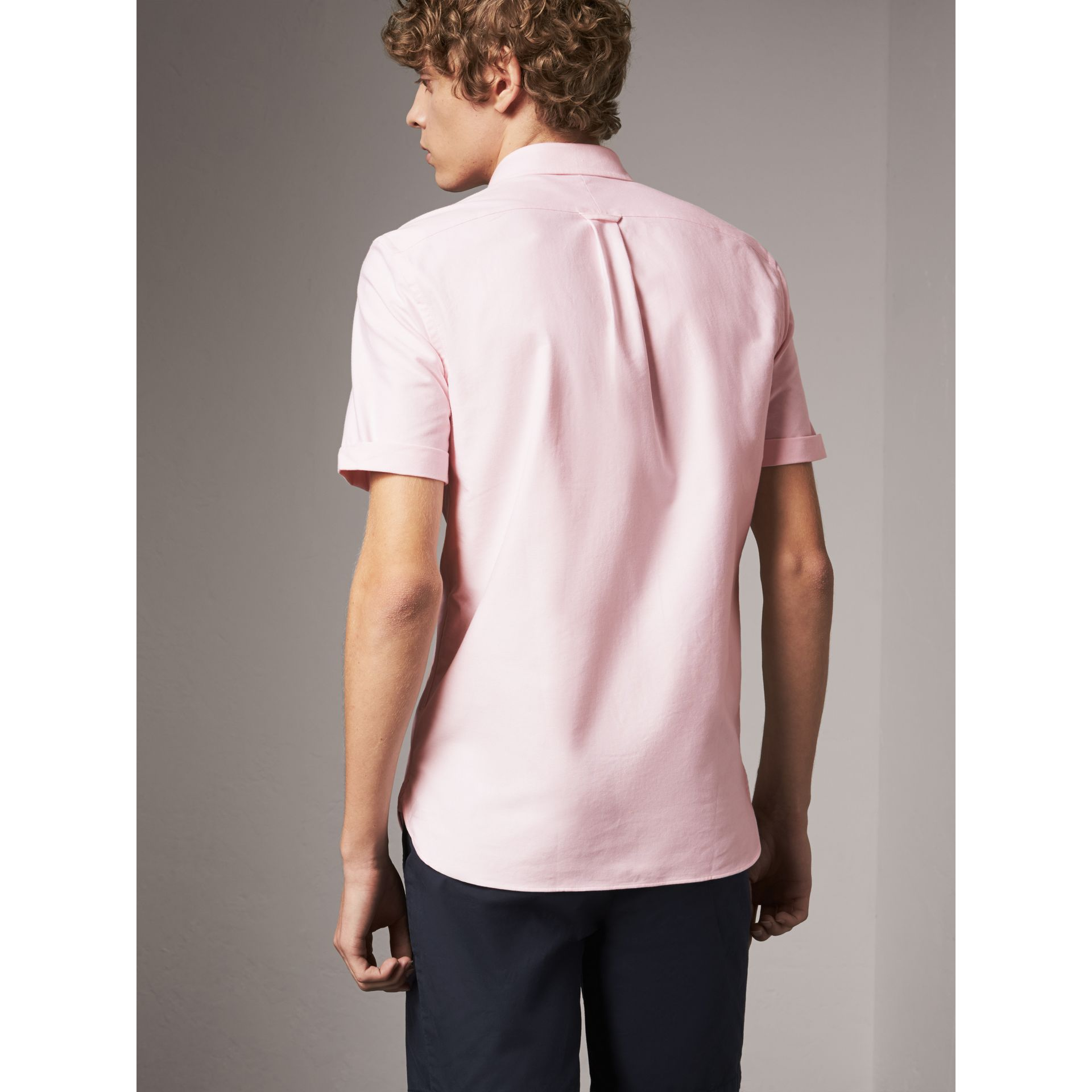 Check Detail Short-Sleeved Cotton Oxford Shirt in Pale Pink - Men | Burberry - gallery image 3