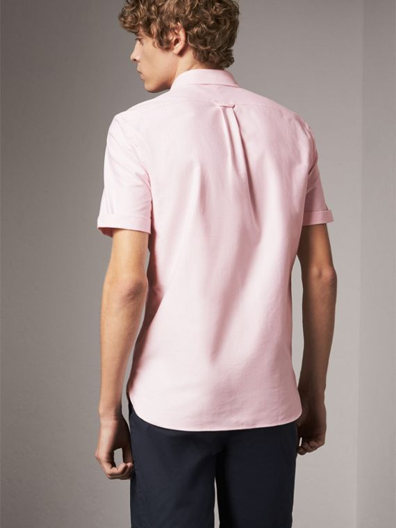 Check Detail Short-Sleeved Cotton Oxford Shirt in Pale Pink - Men | Burberry Singapore - cell image 2