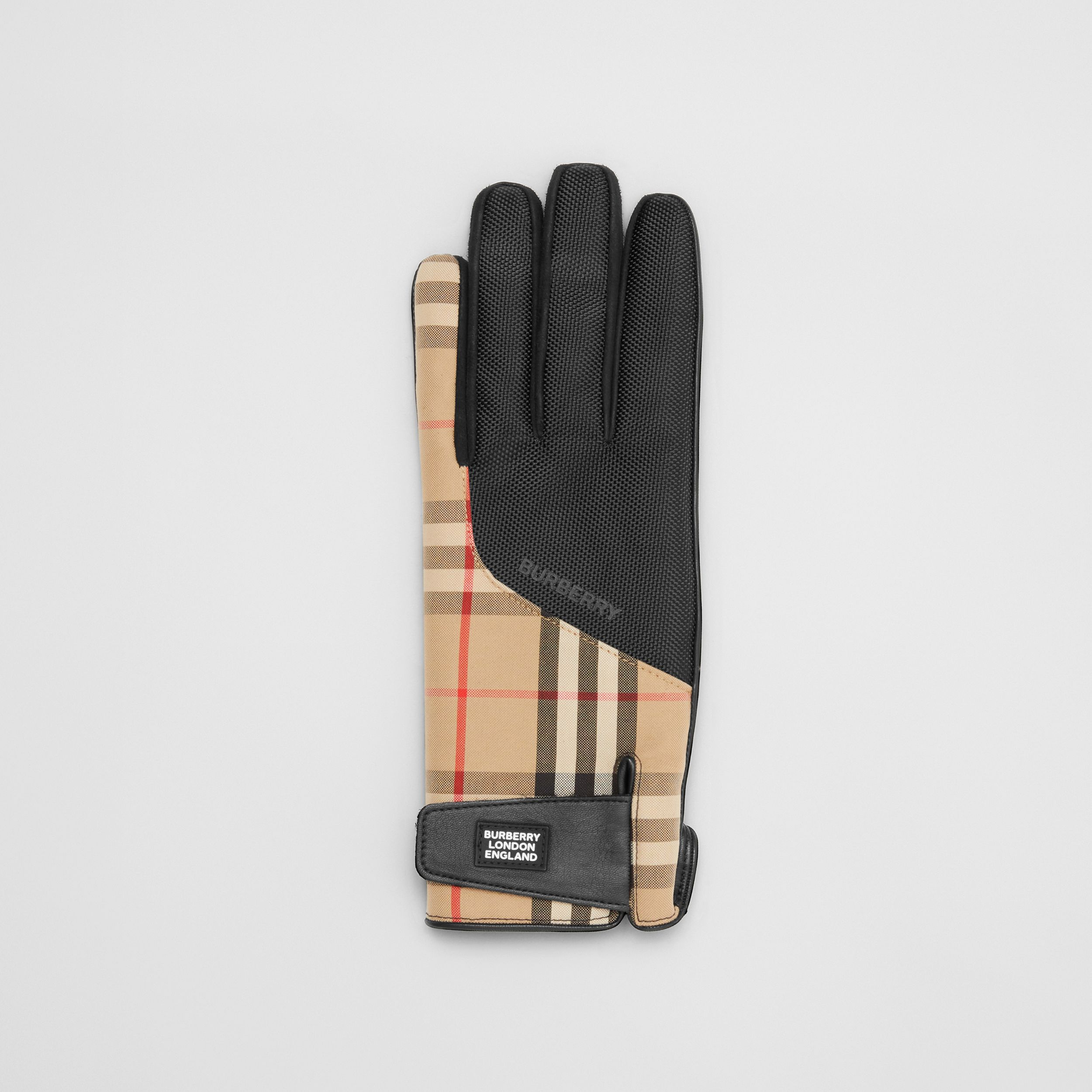 Logo Appliqué Vintage Check and Lambskin Gloves in Archive Beige | Burberry - 3