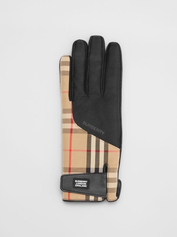 Logo Appliqué Vintage Check and Lambskin Gloves in Archive Beige - Men | Burberry United States - cell image 2
