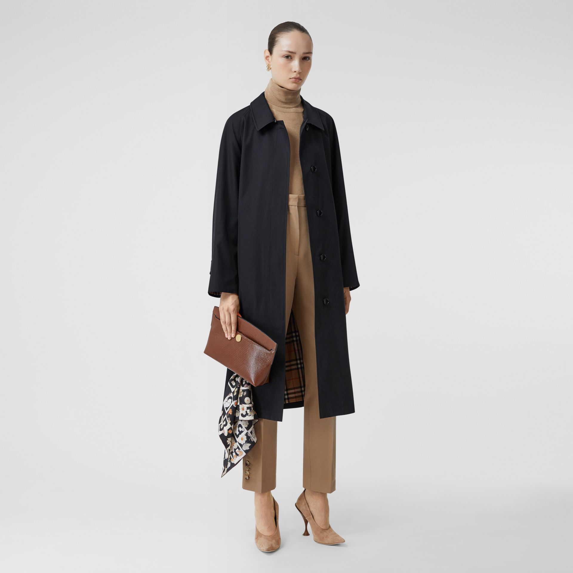 Tropical Gabardine Belted Car Coat in Midnight - Women | Burberry - gallery image 0
