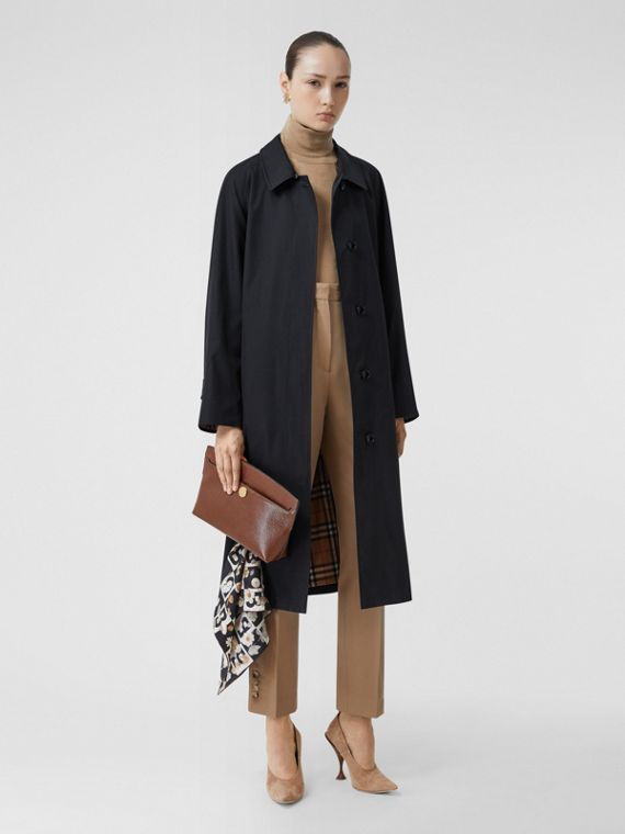 Tropical Gabardine Belted Car Coat in Midnight