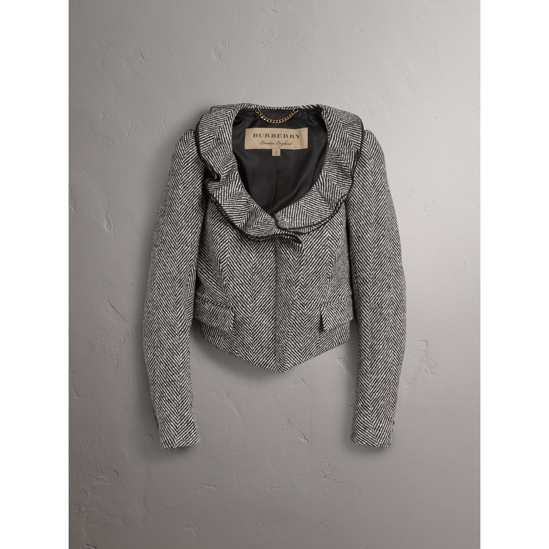 Ruffle Collar Donegal Herringbone Wool Jacket - Women | Burberry - gallery image 4