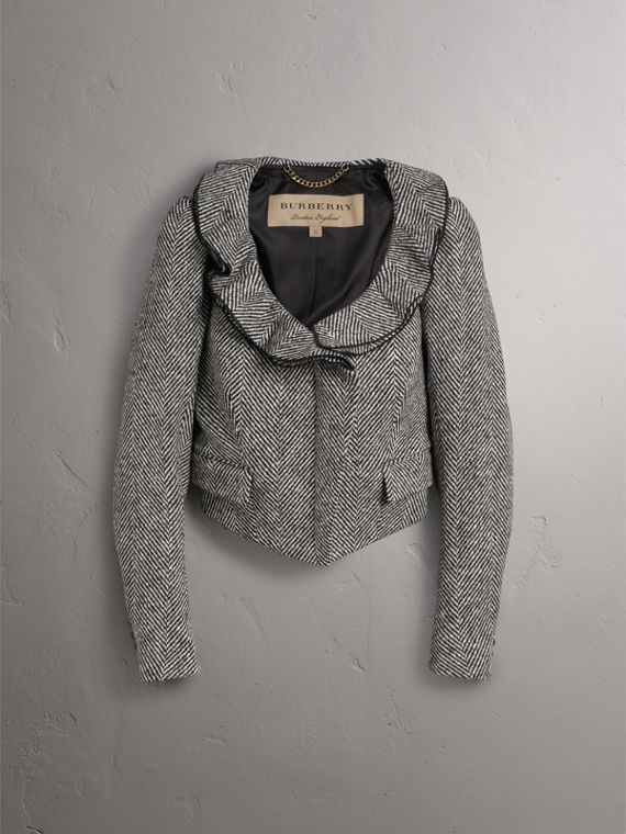 Ruffle Collar Donegal Herringbone Wool Jacket - Women | Burberry - cell image 3