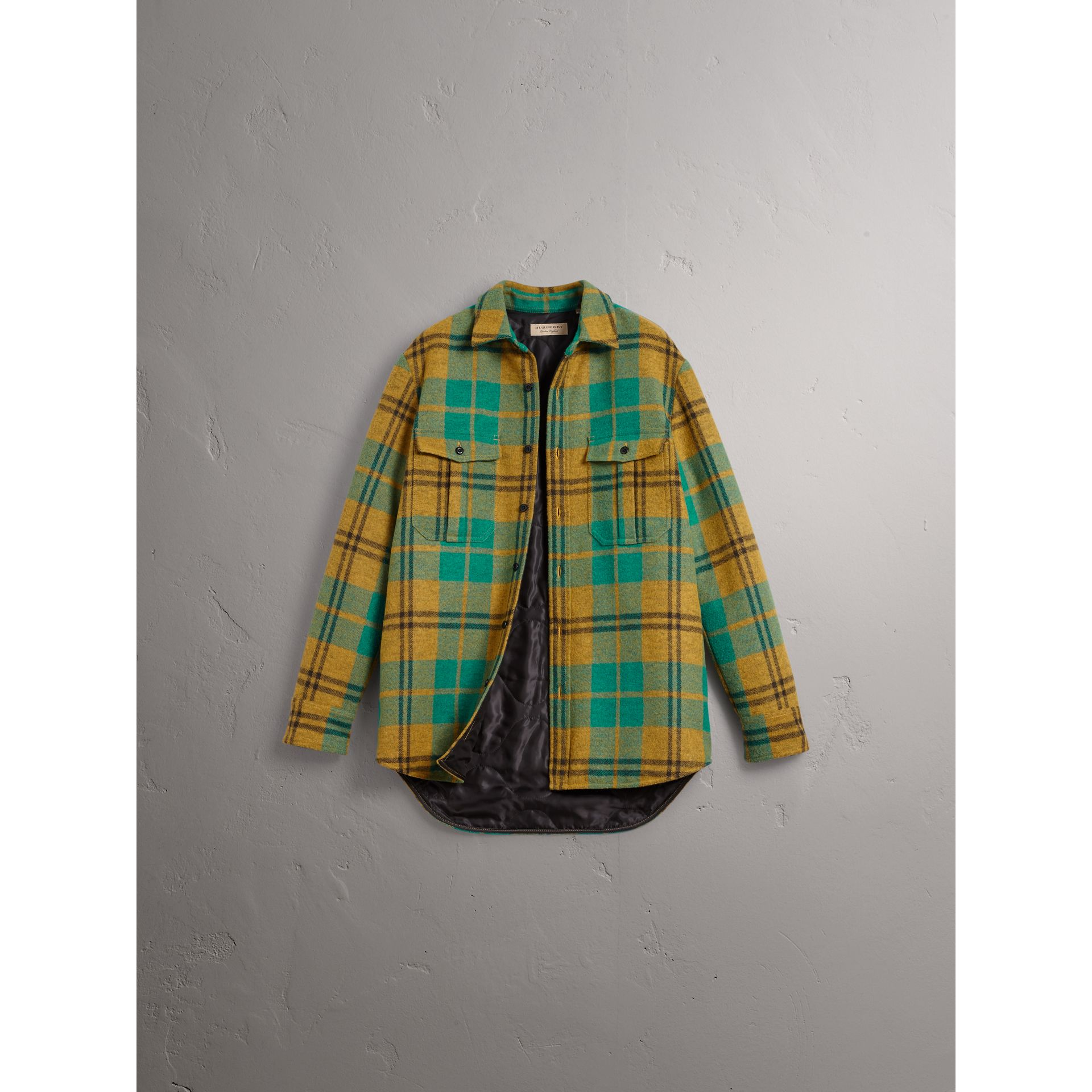 Quilt-lined Check Wool Cotton Blend Flannel Shirt in Amber Yellow - Men | Burberry - gallery image 4